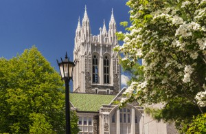 Gasson Hall in spring.