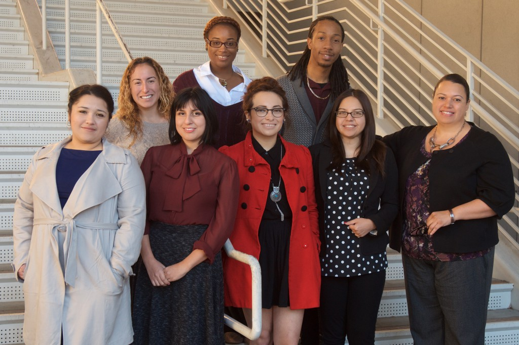 Top row, LtoR: 2015-16 McNair scholars Mayra Robledo, Kristi Sprowl and Jaelen Barnett. Bottom row: Kimberly Serpas, Leah Sanchez, Gabriela Corona, Wendy Velez and program director Dr. Michelle Martinez.
