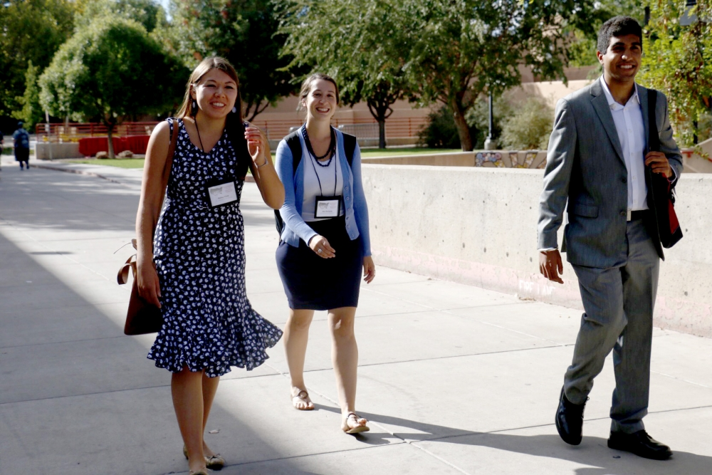 By April Torres  Tanveer Kalo, right, and Halley Choy, left, walk with McNair advisor Aloe Sarhanis on Friday, Sept. 30, 2016 at UNM Main Campus.