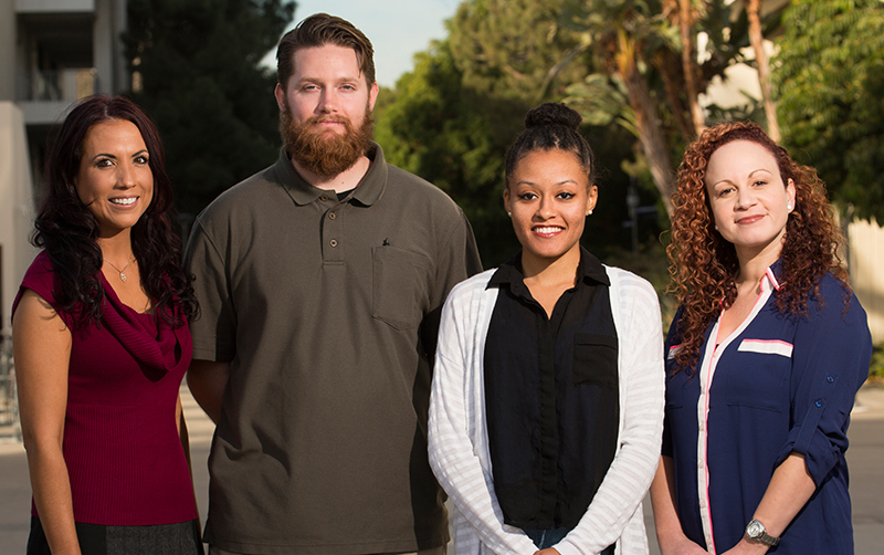 The McNair Scholars program helps students achieve their educational goals beyond the bachelor degree. Pictured, from left, are program director Patricia Literte, students Ryan Hamilton and Aysha Mabin and assistant director Yamissette Westerband.